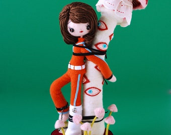 Print: Space Cadet Sayuri Waiting for Danger - Needlefelted Mushroom Toy Plush Doll Sci-fi Felt Sculpture Photograph green red