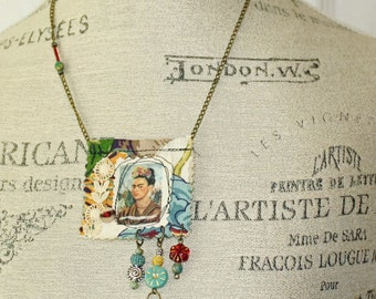 Frida Kahlo Mixed Media  Funky Boho Art Amulet Necklace Frida with Floral Headwear