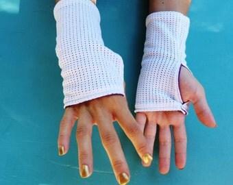White Fingerless mittens Purple lining
