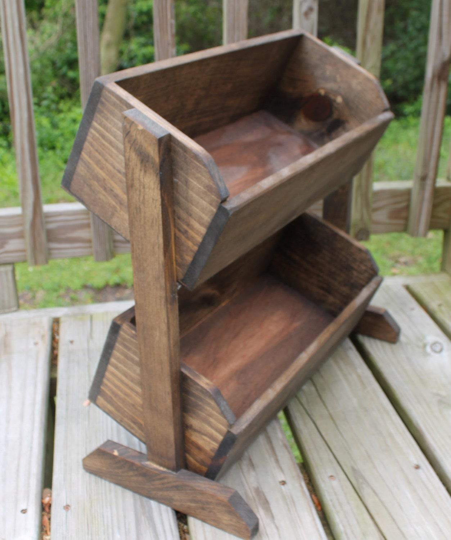 Wood Vegetable Bin Wooden Bread Box Storage For Onion Potatoes