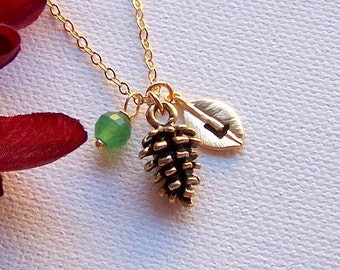 Pinecone Necklace – Personalized Necklace, Birthstone Necklace, Initial Letter Jewelry, Woodland Necklace, Leaf Necklace, Pinecone Wedding