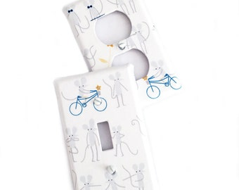Fabric Covered Light Switch Plate Cover - mice with bikes - All Styles - Double, Triple, GFCI, Outlet, Slider, Rocker, Toggle