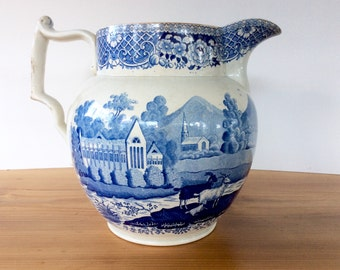 Swansea Cambrian Blue and White Transfer Pottery Jug, Large Transferware Pitcher. Welsh, Tintern Abbey Villagers Scene. Georgian Antiques.