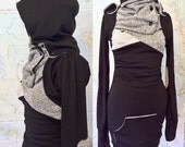 Hooded sweater tunic, black and grey cowl sweater dress with front pocket and thumbhole sleeves.  Sweater-y hoodie dress, limited edition.