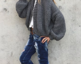 Bomber jacket, gray chunky knit sweater,  handknit,  women's cardigan, women's sweater, alpaca mix, Ltd Edition 3-4 left in this shade