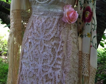 Cream lace dress wedding crochet vintage  vintage   boho medium by vintage opulence on Etsy