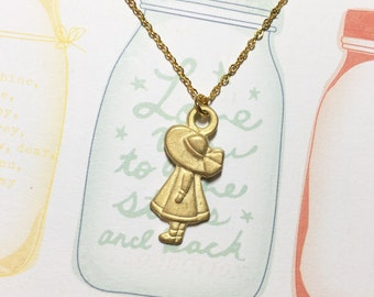 My Little Lady Golden Necklace, Cute Girl Necklace, School Girl Necklace, Christmas Gift, Sweet Little Gift for Her