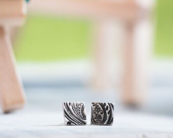 Square Paisley Post Earrings {Hand Stamped PMC 960 + Sterling Silver}