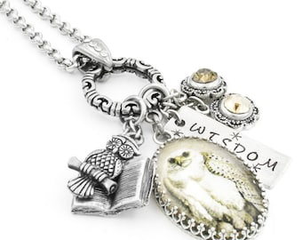 Silver Owl Necklace, Silver Owl Jewelry, Owl Pendant, Snow Owl Charm Necklace, The Snow Owl