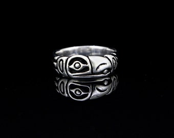 Raven Steals The Sun Ring, Raven Ring, Raven Wedding Band, recycled re-purposed sterling silver