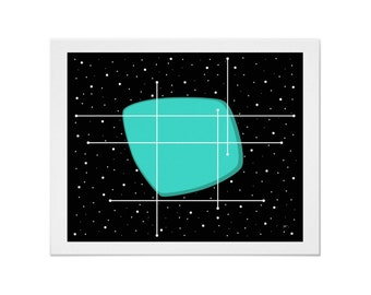 Orbit Art Print Modern Space Age in Various Sizes & Colors with Free US Shipping