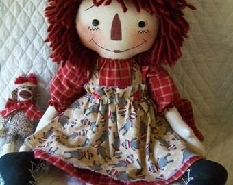 Primitive Cute Raggedy Ann type doll & sock monkey in barn red homespun by yellowsweetpotato