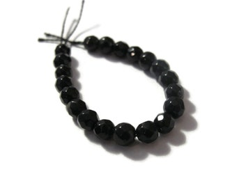 20 Black Round Beads, Dark Onyx Faceted Rounds, Little Gemstones for Making Jewelry, 4mm (S-On2)