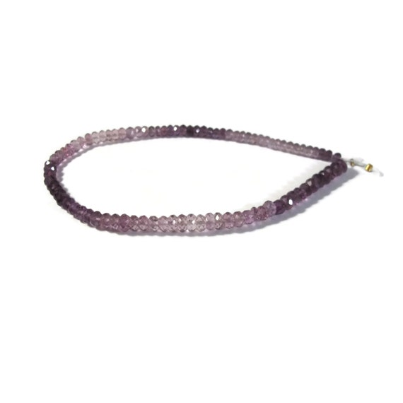 Shaded Amethyst Faceted Rondelles, 8 Inch Strand of Natural Gemstone Beads, Graduated 3.5-5mm, February Birthstone (R-Am4)