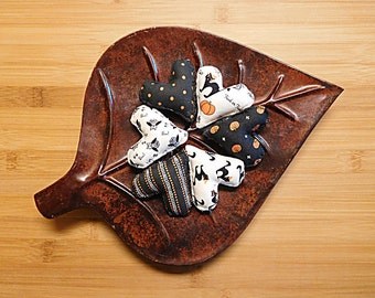 Primitive Halloween Hearts  Black and White Ornaments Holiday Bowl Fillers