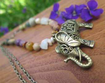 Elephant Stone Necklace - Long Bohemian Pendant - Bright Colorful Natural Earthy - Festival Gypsy Boho - Crystal Vibes - Brass Chain - Hippy