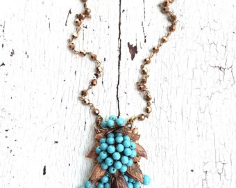 Turquoise and Bronze Beaded Necklace