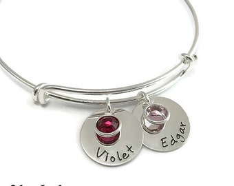 Two Name Silver Adjustable Bangle Bracelet with Birthstones