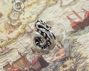 Coiled Tentacle Ring - Handmade Artisan Pewter - Octopus Tentacle Ring - Squid Tentacle Ring - Adjustable - Steampunk Cephalopod Jewelry