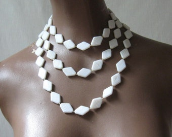 Mod 60s Necklace White Plastic Necklace Opera Length Diamond Shaped Bead Necklace Vintage GoGo