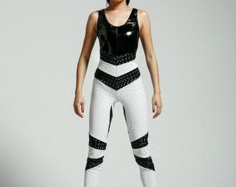 Medium Black and White Vinyl Suit for the Modern Superhero - Free Shipping