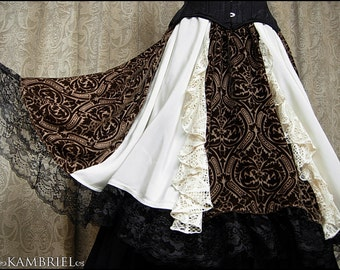 One of a Kind Forest Fairy Skirt by Kambriel - Sheer Sepia Brown Silk Velvet w/ White & Ivory Contrasts, Lace Bias Flounces - Ready to Ship!