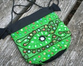Small green India mirrored drawstring pouch stash bag