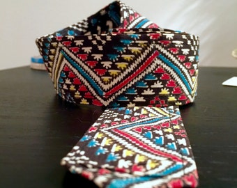 Vintage zig-zag print waist belt unique!