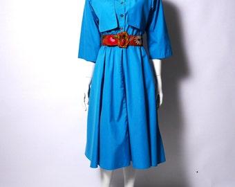 Vintage Trench Dress  // Teal 80s Shirt Dress // Minimal Color Block Dress // Medium //107