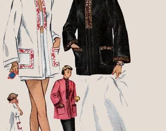 Vintage 1950s  Casual Coat for Beach or Evening w/ Mandarin Collar McCall 1524 50s Rockabilly Pattern Womens Size 12 UNCUT FF