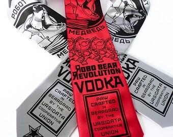 Vodka Bear Necktie - Robot Bear Tie, Geek Tech Gift, Men's Neck Tie - Robo Bear Revolution Vodka Necktie - Speculative Spirits