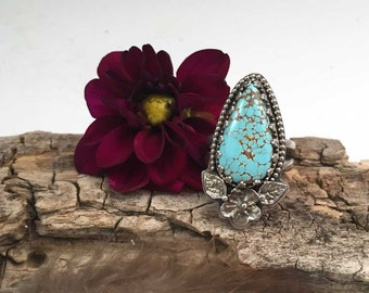 Number 8 Spiderweb Turquoise Cabochon Sterling Silver Ring, size 7.75 US rustic, artisan, metalwork, handmade, Boho, Bohemian, Gypsy