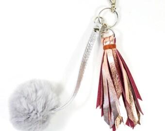 Handmade Metallic Copper Leather Pompom Keychain SC16