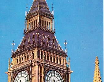 Vintage postcard, unused, Big Ben (The Clock Tower), Houses of Parliament, London, 1979