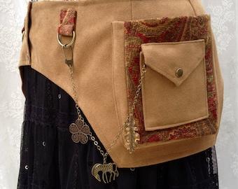Camel brown ultrasuede festival belt - desert festival utility belt - steampunk pocket belt - plus size utility belt - Extra Large