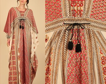 ViNtAgE 60's 70's INDIAN CAFTAN Maxi Dress India Cotton Artisan Hand Block Printed Floral Print Hippie Bohemian Boho Kaftan o/s Free Size
