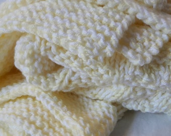 Pale Yellow and White Baby/Lap Blanket