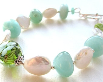 Mint Julep Lampwork, Coin Pearl, and Amazonite Bracelet