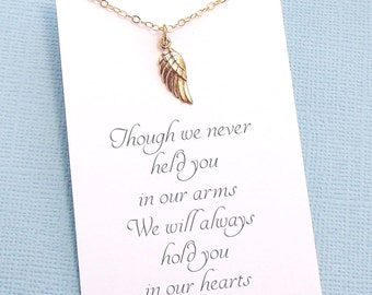 Miscarriage Necklace   Angel Wing Necklace, Infant Loss Jewelry, Loss of a Child, Miscarriage Quote, Sympathy Gift, Condolence   R04