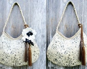 RESERVED for Megan Cream and Pepper Hair On Cowhide Leather Hobo Bag with Brown Tassels by Stacy Leigh