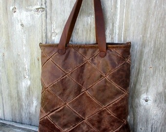 Distressed Brown Quilted Leather Tote Bag by Stacy Leigh