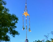 Crystal Rusty Suncatcher | Star and Moon Mobile | Garden Decor Gift | Swarovski Suncatcher | Rustic Mobile