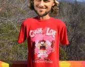vintage 80s t-shirt CHAINS of LOVE bon jovi taz tasmanian devil wtf tee shirt Medium Large red
