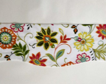 Floral Window Valance/Kitchen/Bedroom/Bath/Topper/Straight/Curved-LINED-Valance, Richloom Fabric/Orange/Green/Red/Yellow/Spring/Summer