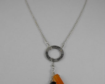 Spirit. protection stone point triple dangle carnelian, quartz, and onyx sterling silver necklace