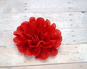 Red Eyelet Lace Flower Hair Clip - Lace Flower -