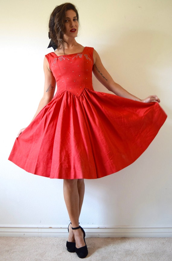Vintage 50s First Dance Red New Look Party Dress with Rhinestone Bodice  (size xs, small)