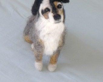Needle Felted Animal / Custom Pet Portrait / Felt Miniature Dog / Handmade Gift Idea OOAK / Australian Shepherd mix