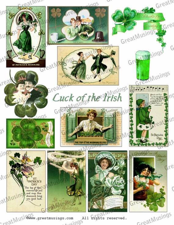 SALE St. Patricks Day digital collage sheet graphics images download vintage St. Pattys Day IRISH shamrock No.241