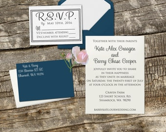 DIY Wedding invitation Rubber Stamp set with Invitation, RSVP and Return address --13014-MULT-000
